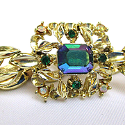 Vintage Coro Goldtone Bracelet with Color Changing Crystal