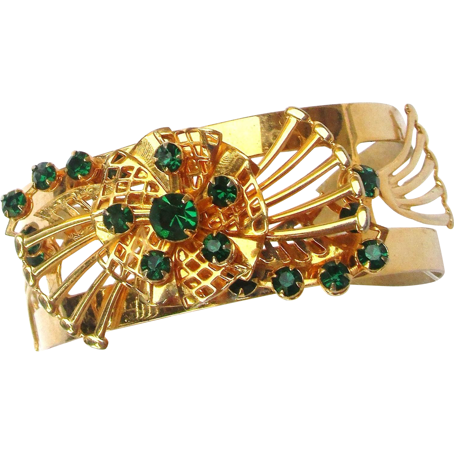 Vintage Goldtone Thick Cuff Bracelet with Wire work and Green Rhinestones