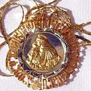 Vintage18K Gold St. Christopher Medallion with 18K Gold 24 inch Chain
