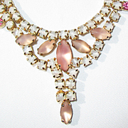 Vintage, Peach Opalescent Necklace/Earring Set