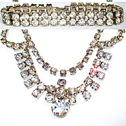 Vintage Clear Rhinestone Necklace/Bracelet Set