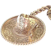 Sterling Silver Cowboy Hat Keychain/Pendant with braided chain.