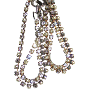 Vintage Faux Pearl and Rhinestone Necklace and Double Bracelet