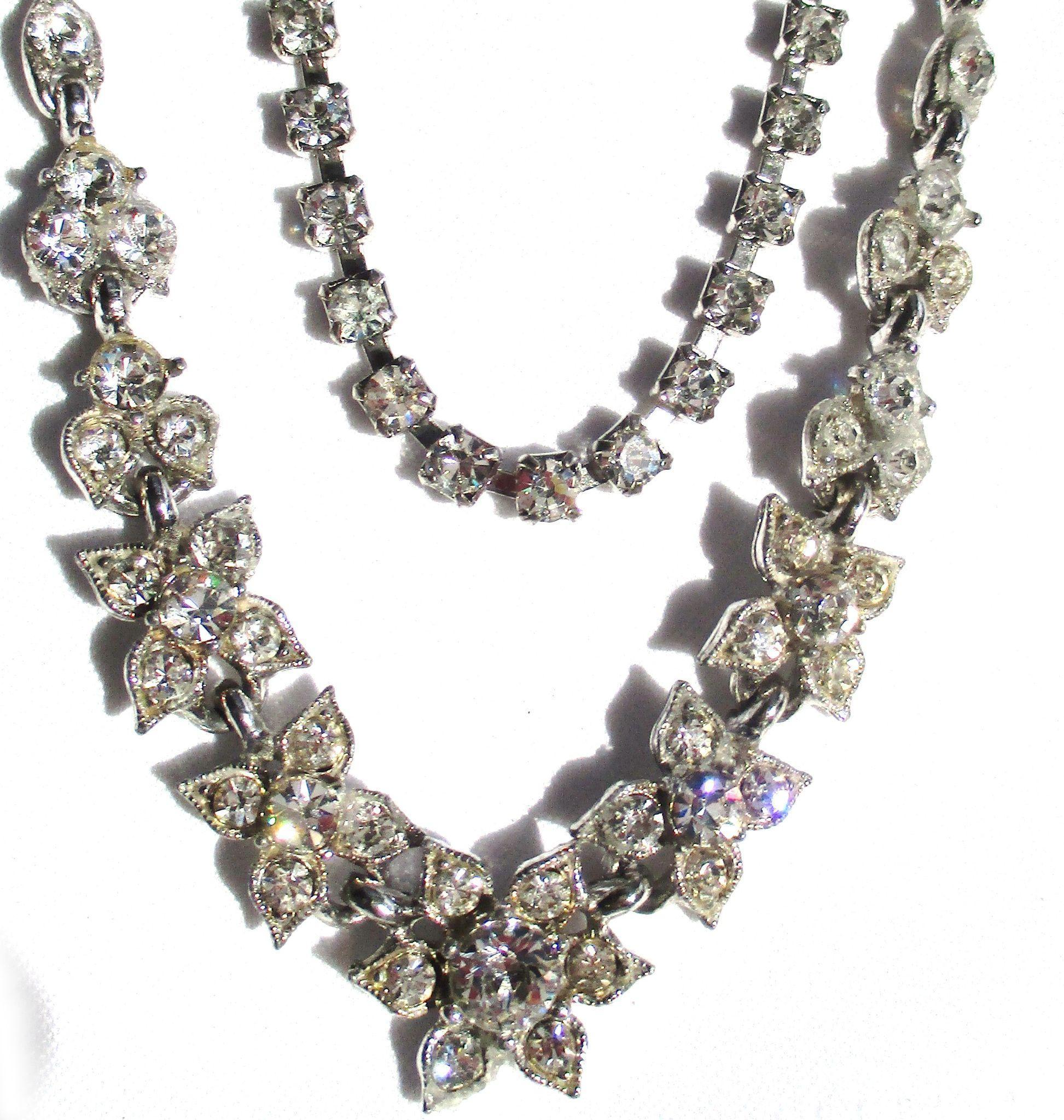 Vintage Rhinestone Flower Necklace and Bracelet Set