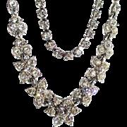 Vintage Rhinestone Flower Necklace and Bracelet Set
