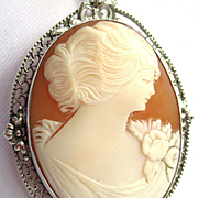 Vintage Sterling Silver Filigree Carnelian and Shell Carved Cameo Pendant