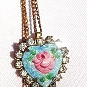 Handpainted Vintage Cloisonne Flower Pendant and Chain