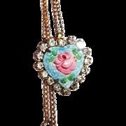 Handpainted Vintage Cloisonne Flower Pendant and Chain