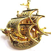 Vintage Spanish Vessel Ship, Gold Tone Pendant/Necklace