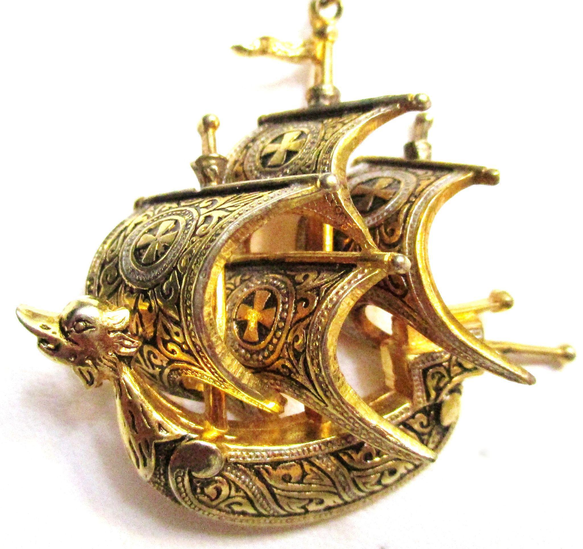Vintage Spanish Vessel Ship, Gold Tone Pendant/Necklace