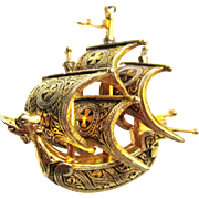 Vintage Spanish Vessel Ship, Gold Tone Pendant with Chain
