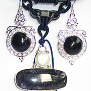 Blue Sparkling 3 Pc. Blue Goldstone Pendant on Silk Rope with Earrings/Bracelet