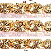 Diamond Cut 14k Gold, 22 Section Starburst Bracelet