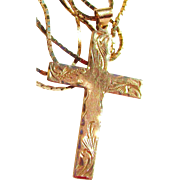 12k Gold Diamond Cut Etched Cross with Sparkling 10 K Gold Chain