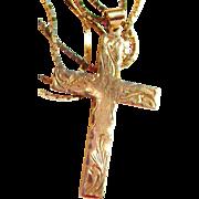 14k Gold Diamond Cut Etched Cross/Chain