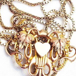14K Tri-Color Gold Pin/Pendant/24 inch Box Chain Necklace