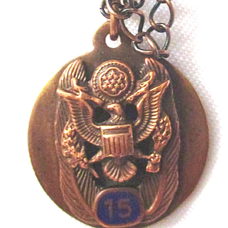Copper Eagle Army Pendant with Copper Chain