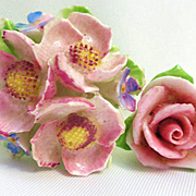2 Porcelain Flower Pins from England/Japan