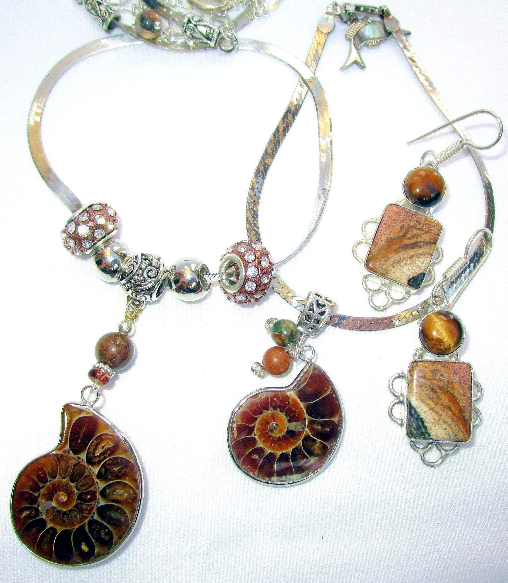 Sterling Silver Snake Chain with Ammonite Necklace and Bracelet