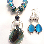 Veined Agate & Murano Style Beads and Blue Cat's Eye/Pearl Earrings