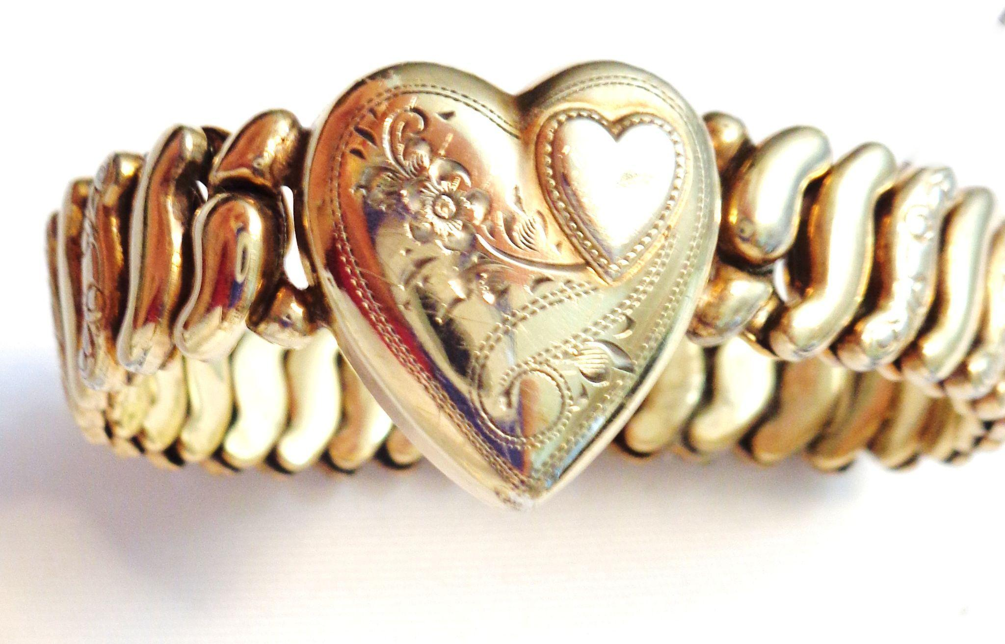 Vintage Bright Gold Plated Sweetheart Expansion Bracelet