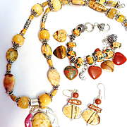 Multi Gemstone Necklace, Bracelet and Earrings