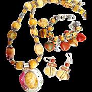 Multi Gemstone Necklace, Bracelet and Earrings