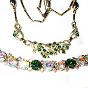 3 Piece Vintage Green Rhinestone Set