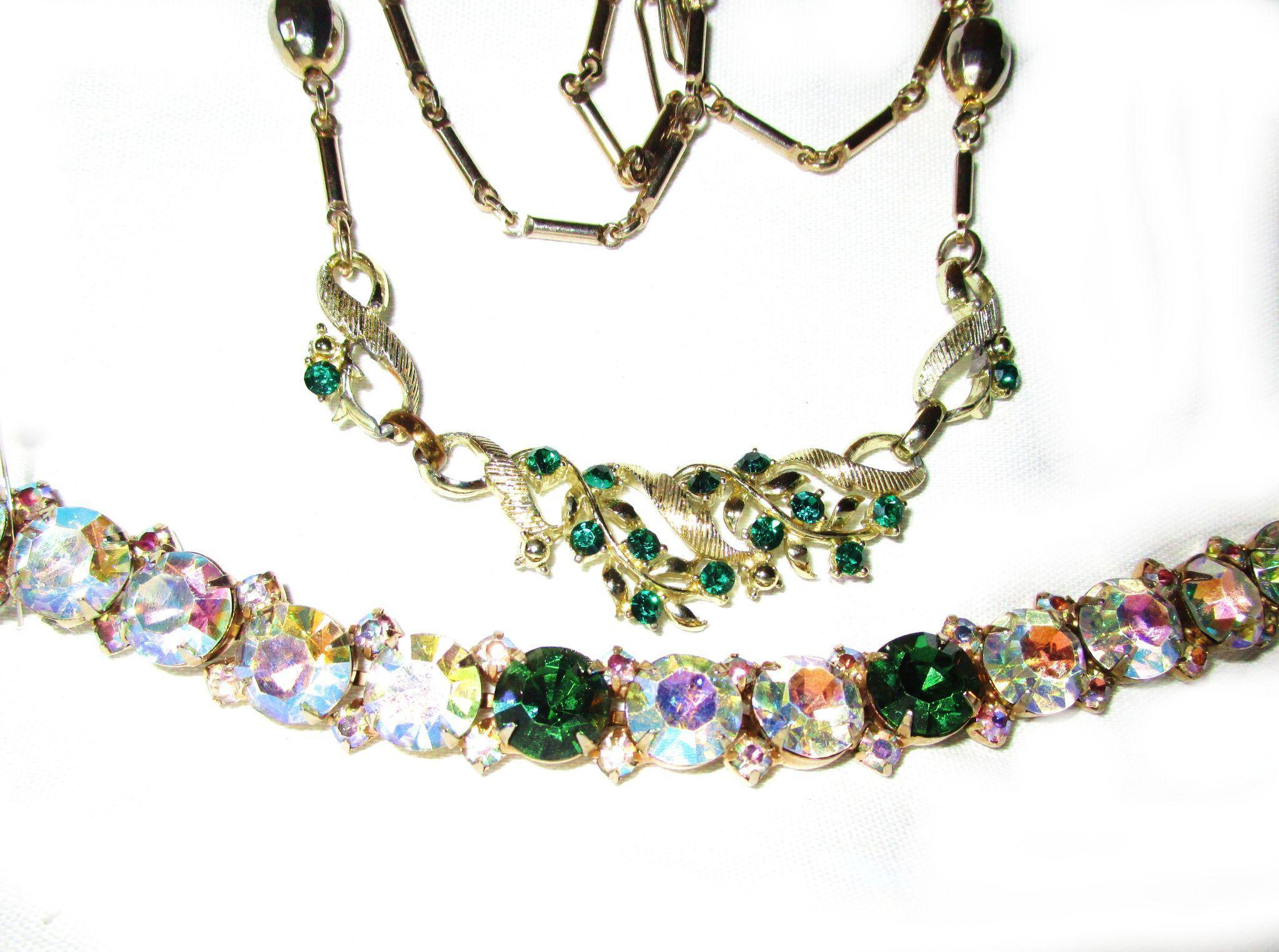 2 Piece Vintage Green Rhinestone Set