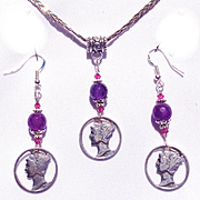 Mercury Dimes, Amethyst, Sterling Silver, Necklace and Earring Set