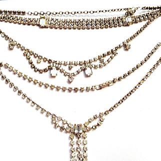 2 Vintage Rhinestone Necklaces/Matching Bracelet