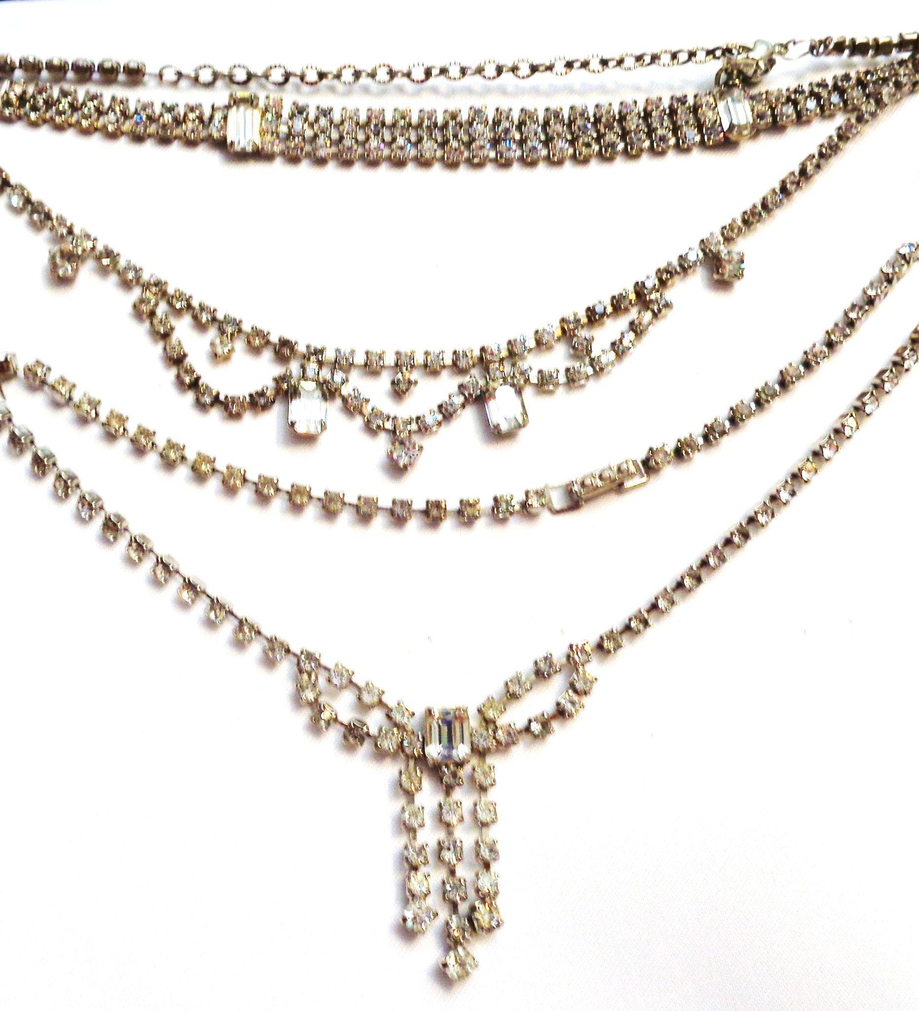 2 vintage rhinestone necklaces matching bracelet from