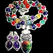 Veined Agate Pendant/Bead Necklace/Amethyst Earrings