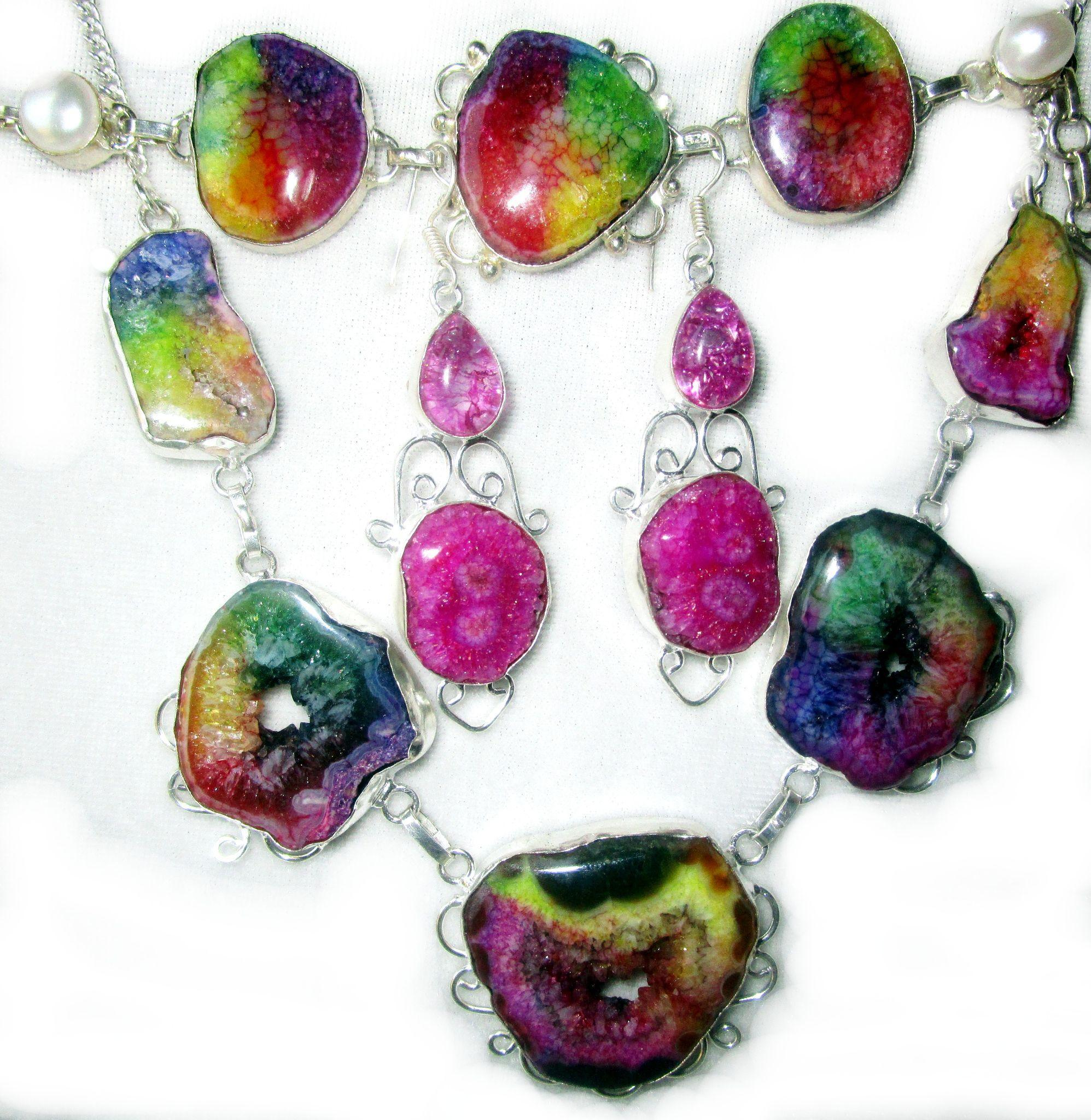Veined/Rainbow Colored Enhanced Agate Bracelet/Necklace/Earrings/Set