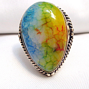 Sterling Silver Veined Agate Ring/Size 8