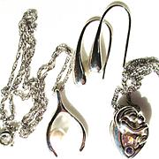 Sterling Silver Horseshoe/Pearl/Chain/Earrings