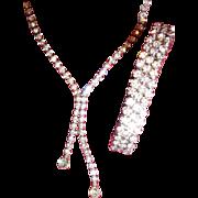 Vintage Lariat Style Rhinestone Necklace/3 Row Bracelet