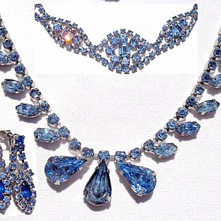 Vintage Bright Blue Rhinestone/Necklace/Bracelet/Earring Set