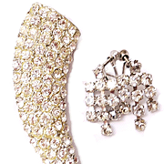 Rhinestone Horn Pin/Earrings