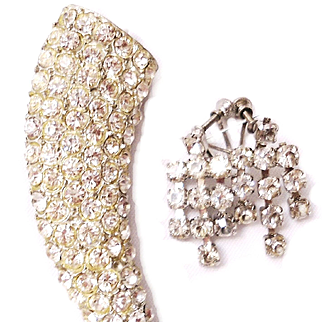 Rhinestone Horn Pin/Earrings