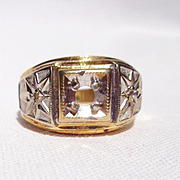 8 Grams 14 K Gold/White 2-Color Ring (shell)9 1/2