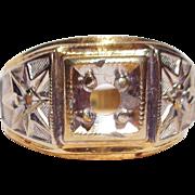 14 K Gold/White 2-Color Ring (shell)9 1/2