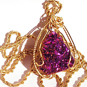 Titanium Druzy, 14 K Gold Wire Wrapped/14 KGF Chain/24 inch