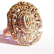 Copper/Marcasite Filigree Ring-8 1/2