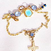 14K Gold Bracelet/14K Cross/Blue Swarovski Crystals