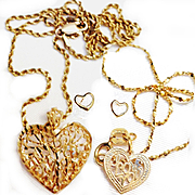 Vintage 14K Gold Heart Necklace And Bracelet