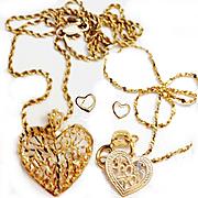 Vintage 14K Solid Gold, Diamond Cut Heart Necklace/Earrings/Bracelet
