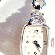 Hamilton 14K White Gold/6 Diamond Watch(Does not run)
