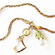 Tri-Color/Braided/14 K Gold Bracelet/Gold Heart/Sapphire/Peridot