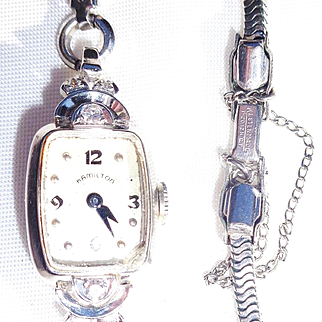 Vintage, 14 K White Gold, 6 Diamond, Hamilton Watch (Not Running)